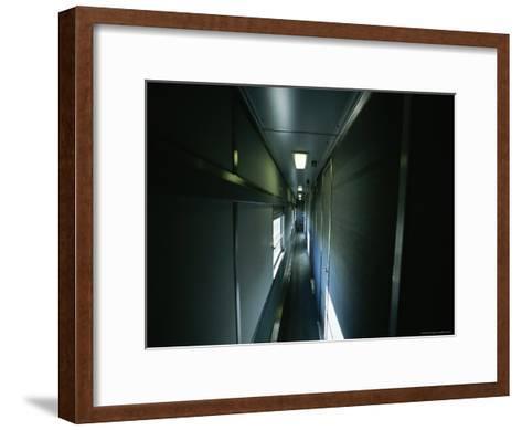 Narrow Hallway in Sleeper Car on Board Via Rail Canada Train-Todd Gipstein-Framed Art Print