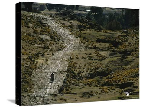 A Bolivian Woman Walks Along the Ancient Road to Tiwanaku--Stretched Canvas Print
