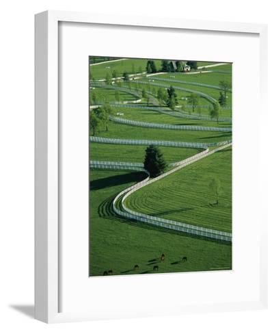 Aerial View of Donamire Farms Fenced Pastures-Melissa Farlow-Framed Art Print