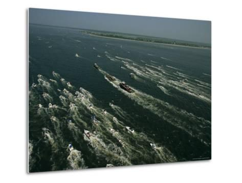 The Raised Hunley Submarine Escorted Ashore by Boats of Well-Wishers-Ira Block-Metal Print