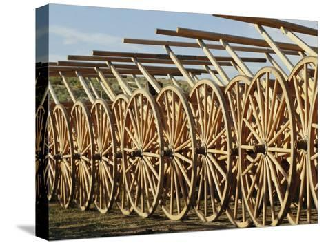 Handcarts Lined up at the Mormon Handcart Center-Michael S^ Lewis-Stretched Canvas Print