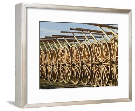 Handcarts Lined up at the Mormon Handcart Center-Michael S^ Lewis-Framed Art Print