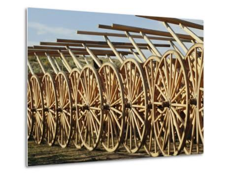 Handcarts Lined up at the Mormon Handcart Center-Michael S^ Lewis-Metal Print