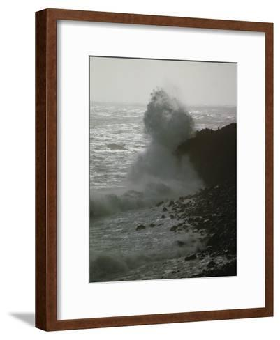 A Wave Splashes on the Shore of Tristan Da Cunha Island-James P^ Blair-Framed Art Print
