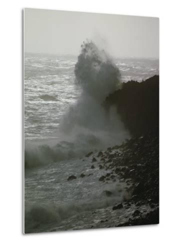 A Wave Splashes on the Shore of Tristan Da Cunha Island-James P^ Blair-Metal Print