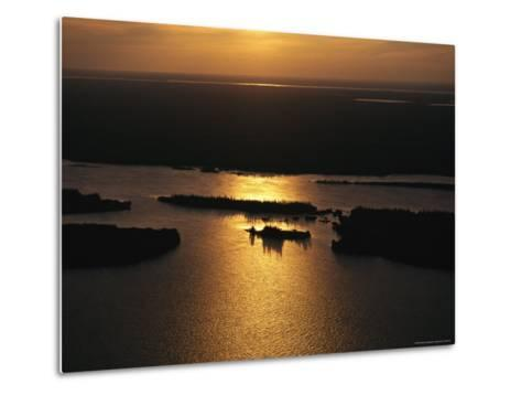 Sunset is Reflected on the Rippling Water of Great Slave Lake-Raymond Gehman-Metal Print