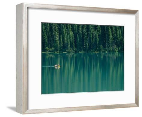 Canoeing on Still Water of Yoho National Parks Emerald Lake-Michael Melford-Framed Art Print