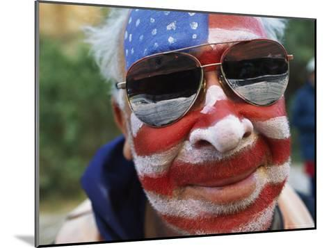 An American Flag is Painted on Mans Face in Arizona-David Edwards-Mounted Photographic Print