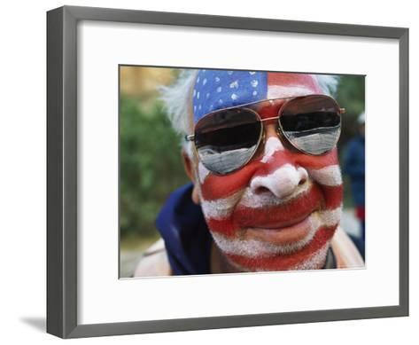 An American Flag is Painted on Mans Face in Arizona-David Edwards-Framed Art Print