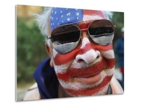 An American Flag is Painted on Mans Face in Arizona-David Edwards-Metal Print