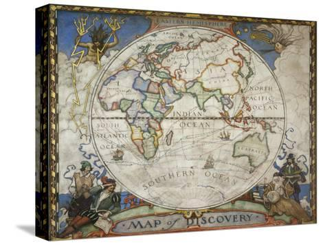 A Map of the Eastern Hemisphere Depicting Famous Explorers Routes Painted in 1927-Victor R^ Boswell, Jr-Stretched Canvas Print
