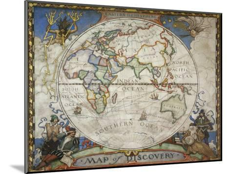 A Map of the Eastern Hemisphere Depicting Famous Explorers Routes Painted in 1927-Victor R^ Boswell, Jr-Mounted Photographic Print