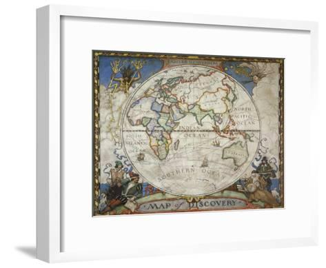 A Map of the Eastern Hemisphere Depicting Famous Explorers Routes Painted in 1927-Victor R^ Boswell, Jr-Framed Art Print