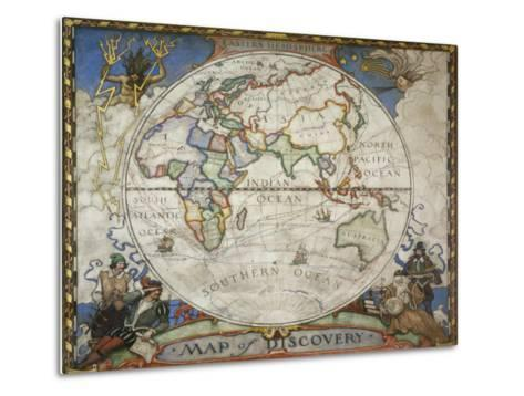 A Map of the Eastern Hemisphere Depicting Famous Explorers Routes Painted in 1927-Victor R^ Boswell, Jr-Metal Print