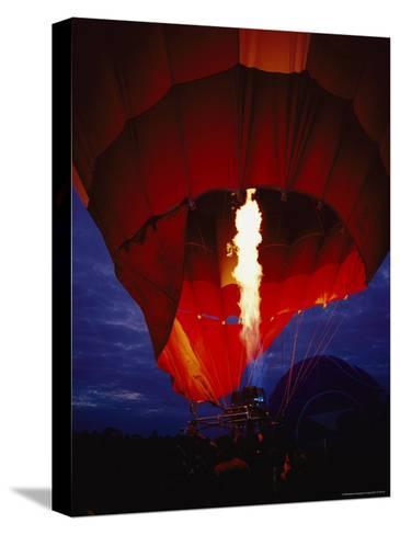 A Gas Jet Flame Heating Air for a Hot Air Balloon at Dawn-Jason Edwards-Stretched Canvas Print