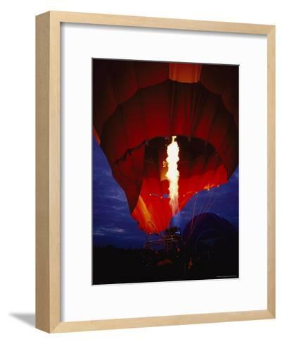 A Gas Jet Flame Heating Air for a Hot Air Balloon at Dawn-Jason Edwards-Framed Art Print