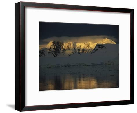 Sunrise over Neumeyer Channel with Anvers Island in the Background-Gordon Wiltsie-Framed Art Print