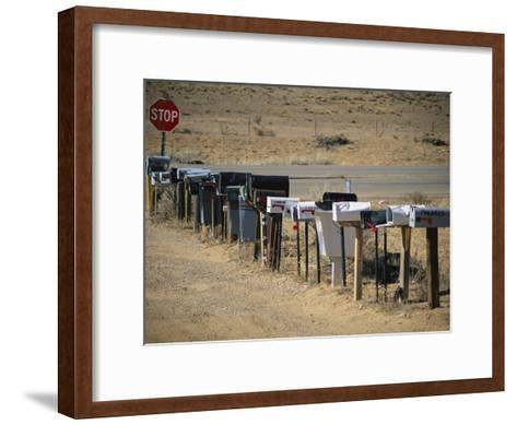 A Parade of Mailboxes on the Outskirts of Santa Fe-Stephen St^ John-Framed Art Print