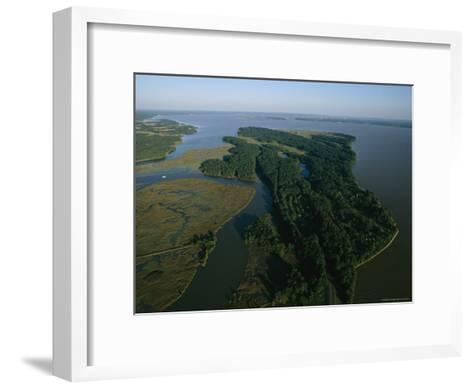 Aerial View of the James River-Ira Block-Framed Art Print