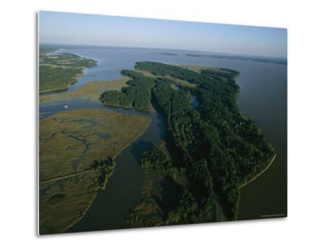 Aerial View of the James River-Ira Block-Metal Print