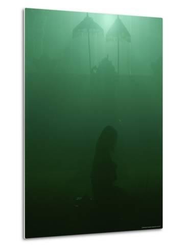 A Woman Praying in a Temple-Peter Carsten-Metal Print