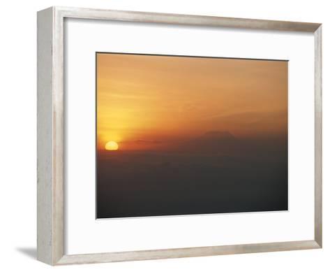 Sun Sets over Mount Kilimanjaro, Seen from Ol Doinyo Lengai Volcano-Peter Carsten-Framed Art Print