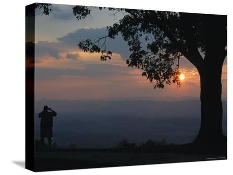 Sunset and Silhouetted Oak and Person over the Shenandoah Valley, Dickeys Ridge Visitors Center-Raymond Gehman-Stretched Canvas Print