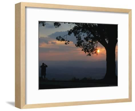 Sunset and Silhouetted Oak and Person over the Shenandoah Valley, Dickeys Ridge Visitors Center-Raymond Gehman-Framed Art Print