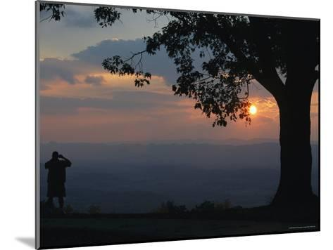 Sunset and Silhouetted Oak and Person over the Shenandoah Valley, Dickeys Ridge Visitors Center-Raymond Gehman-Mounted Photographic Print
