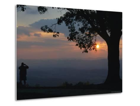 Sunset and Silhouetted Oak and Person over the Shenandoah Valley, Dickeys Ridge Visitors Center-Raymond Gehman-Metal Print