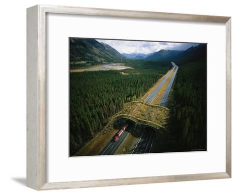 Overpass for Grizzlies and Other Wildlife Spans an Alberta Highway-Joel Sartore-Framed Art Print