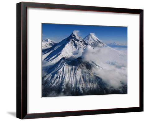 View of Kamen, Bezymianny, and Klyuchevskoy, Asias Tallest Volcano-Peter Carsten-Framed Art Print