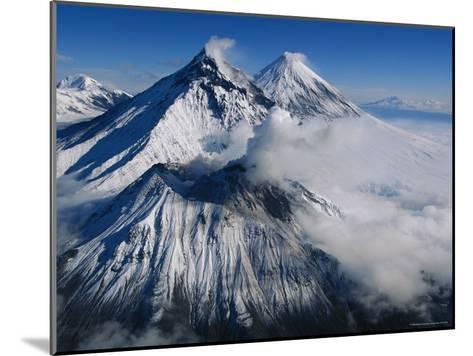 View of Kamen, Bezymianny, and Klyuchevskoy, Asias Tallest Volcano-Peter Carsten-Mounted Photographic Print