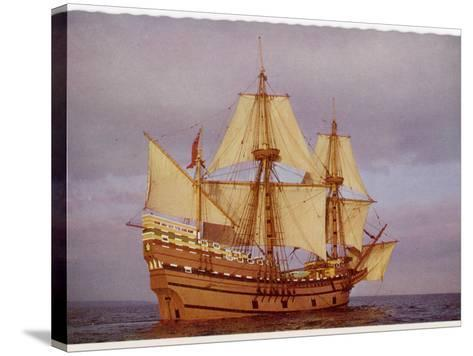 """Model of the Ship Which Carried the """"Pilgrim Fathers"""" from Europe to the New World--Stretched Canvas Print"""