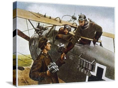 German Fighter Plane Loads up with Hand-Grenades Before a Mission--Stretched Canvas Print