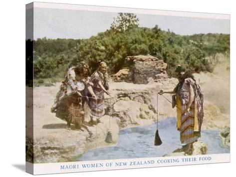 Maori Women in New Zealand Cooking Food in a Hot Spring--Stretched Canvas Print
