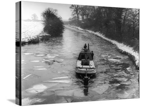 """An """"Icebreaker"""" Narrow Boat--Stretched Canvas Print"""