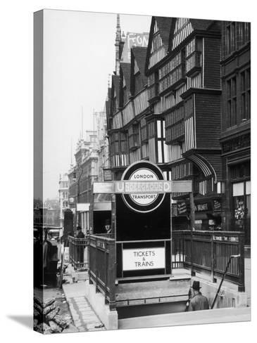 The Front of Staples Inn and the Entrance to Holborn Underground Station Central London--Stretched Canvas Print