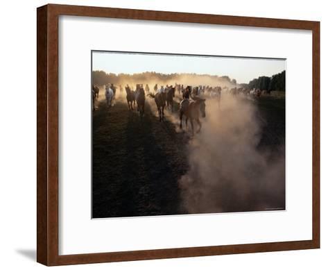 The Horses Run Home Through a Cloud of Dust-Sisse Brimberg-Framed Art Print