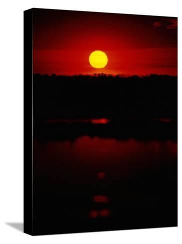 The Setting Sun Creates Reflections on the Waters of Big Cypress Swamp-Raymond Gehman-Stretched Canvas Print
