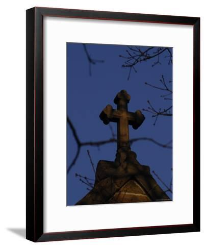A Stone Cross Caps the Top of a Building-Stephen Alvarez-Framed Art Print