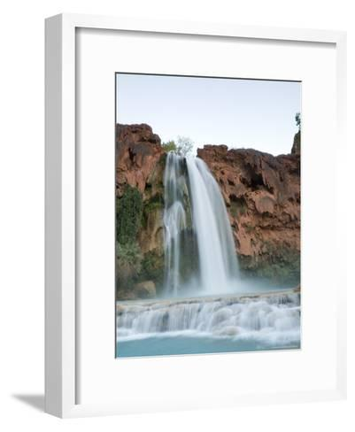 Deep Blue Water Rushes Over a Cliff Formed by Mineral Deposits-Taylor S^ Kennedy-Framed Art Print