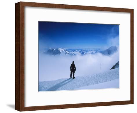 A Climber at 16,000 Feet on the West Buttress of Denali-Bill Hatcher-Framed Art Print