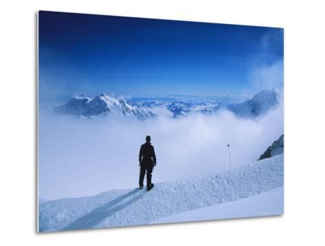 A Climber at 16,000 Feet on the West Buttress of Denali-Bill Hatcher-Metal Print
