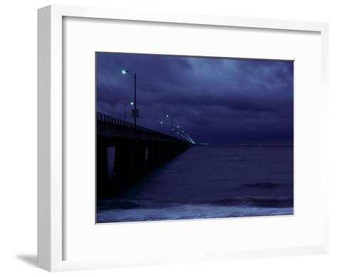 Night View of the Chesapeake Bay Bridge-Tunnel-Medford Taylor-Framed Art Print