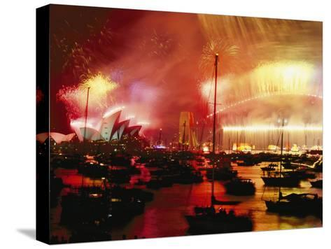 Sydney Harbour Explodes with Light and Sound During the 2000 New Years Celebration-Annie Griffiths-Stretched Canvas Print