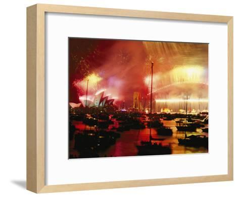 Sydney Harbour Explodes with Light and Sound During the 2000 New Years Celebration-Annie Griffiths-Framed Art Print