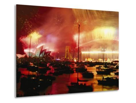 Sydney Harbour Explodes with Light and Sound During the 2000 New Years Celebration-Annie Griffiths-Metal Print