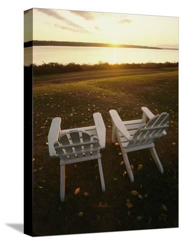 Two Chairs in the Sunlight at Chesuncook Lake in Maine--Stretched Canvas Print