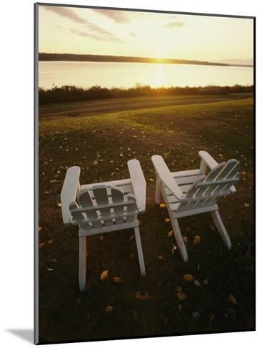 Two Chairs in the Sunlight at Chesuncook Lake in Maine--Mounted Photographic Print